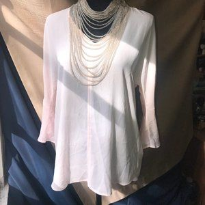 Chaus Pink Bell Sleeve Top Sz S